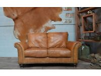 Leather Vintage 2 Seater Sofa Tan
