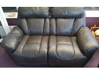 CHARCOAL LEATHER ELECTRIC TWO SEATER RECLINER, MATCHING ARMCHAIR AND POUFEE - DFS