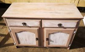 Pink & White Painted 2 Drawer 2 Door Cupboard Sideboard W107 X D45 x H76cm
