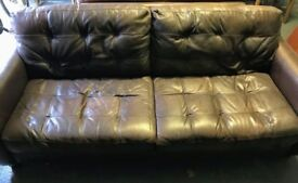 Leather DFS Sofa Set: large 3-seat, 2-seat, 2 storage footstools. Great condition. Pick-up only