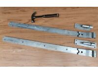Very large gate hinges. New. Cranked hook and band galvanised hinges 900mm (36ins).