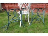 (#857) vintage pair of garden cast iron table ends (Pick up only, Dy4 area)