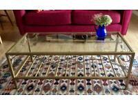Gilt metal & glass coffee table