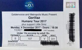 2x Gorillaz Humanz Tour (with Little Simz) tickets for sale, Mon 4 Dec, The O2