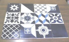 12 NEW HANDMADE MEXICAN CERAMIC WALL TILES-BLUE LAGOON MIX-10.5CM X 10.5CM (Approx)