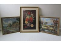 Vintage 3 Tapestry wall hanging picture needlework BOUTIQUE floral FREE DELIVERY