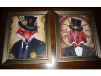 2 NEW STEAMPUNK STYLE THE FOX AND THE HOUND PRINTS, BRONZE/GOLD GLASS FRAMES. 12 inches by 10 inches