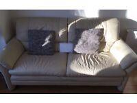 Creamy 3 seater leather sofa