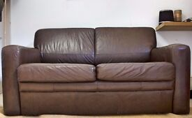 Real Leather Sofa bed - DOUBLE - Chocolate Brown