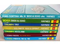 HAYNES MANUALS FORD CORTINA MK III & FIESTA 1983-89, TRIUMPH TR7 & TRIUMPH ACCLAIM FROM £4 EACH