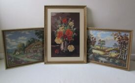3 Tapestry wall hanging picture needlework country house, lake side BOUTIQUE floral FREE DELIVERY