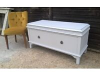 Vintage Oak Ottoman Style End of Bed/Hallway Chest of Drawers/Bench *FREE DELIVERY* Antique Grey