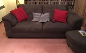 Three seater fabric sofa (incl footstool)