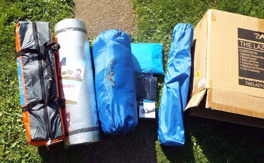 BRAND NEW Festival pack2 Man Tent, sleeping bag. torch, stool, pillow, poncho, roll matin Hull, East YorkshireGumtree - Great for festivals all new never used cost £60 Aventura 2 Man Dome Tent with porch pillow Led head torch poncho 2 season sleeping bag folding chair roll mat