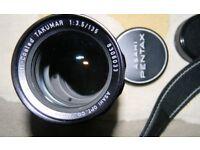 Asahi Pentax 135mm F3.5 Telephoto Lens 42mm mount.