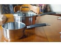Jamie Oliver induction stainless steel pans (1 litre & 2.9 litres) USED, EXCELLENT CONDITION