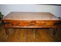 Indian teak side table with drawers