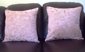 CUSHIONS: 2 pink with feather inners. £9 ovno both/£5 ovno each. Covers only £6 ovno both/£3.50 each