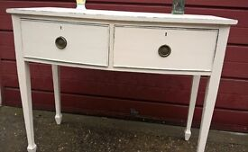 1940's Console / hall table hand painted, lightly distressed finish.