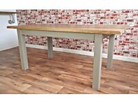 Slab Style Rustic Farmhouse Oak Dining Table