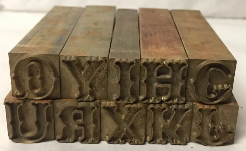 Lot of 10 Vintage Heavy Solid Brass Letterpress Letter Printing Stamps