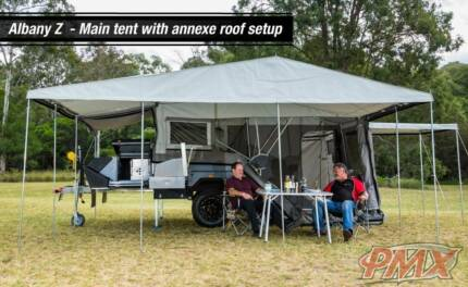 All new. PMX Albany Z Rear opening Hard Floor Camper