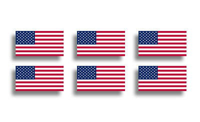- 6 Mini USA Flag Stickers Decal Patriotic American Cup Phone Tablet Tag Helmet US