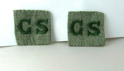 GRAY GREEN GS LOGO CORNER SQUARES,1928 for Girl Scout Uniform COLLAR, UNUSED