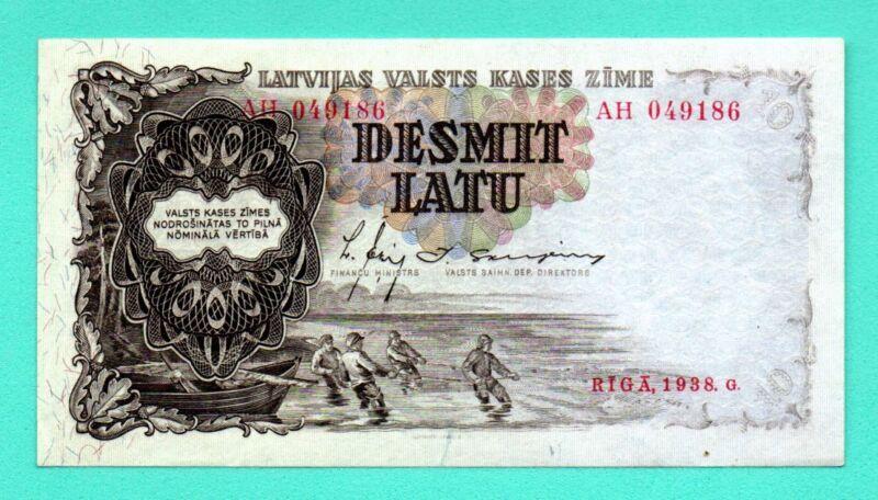 LATVIA LETTLAND 10 LATU 1938 P.29b aUNC FISHERMEN 565