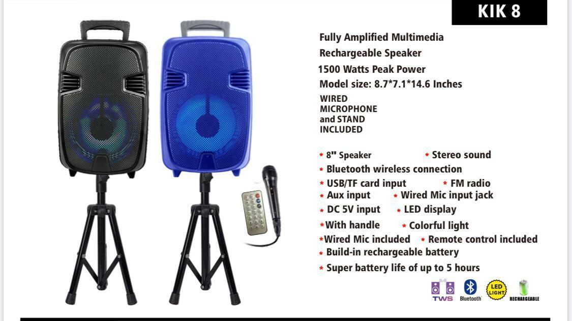 portable 1500 watts peak power 8 speaker