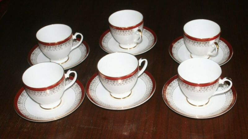 Royal Grafton Majestic Maroon/ Red China - Footed Cup & Saucer set of 6