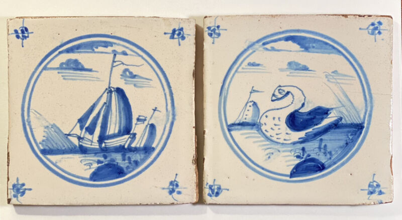 Pair Of Vintage Blue & White Delft Hand Painted Tiles Felt Back Sailboats & Bird