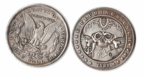 1881 CC Morgan Dollar W/ Pirate Skull & MAP Fantasy Issue Novelty Coin