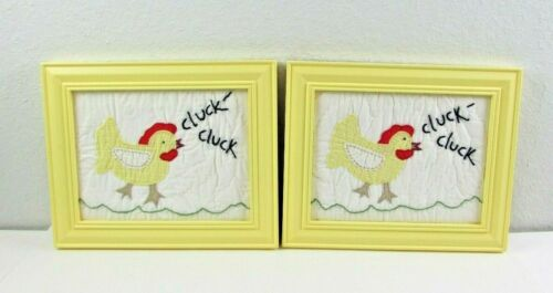 2 Pottery Barn Kids Framed Nursery Quilt Square Chick Picture  (U-1)