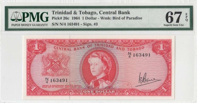 """1964 BRITISH COLONY TRINIDAD & TOBAGO QEII $1 """"X-RARE"""" (( PMG 67 EPQ ))"""