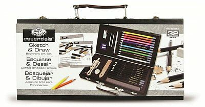 SKETCHING ARTIST BOX SET KIT ART DRAWING CHARCOAL PENCILS PASTELS CHRISTMAS GIFT