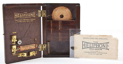 RARE ANTIQUE CA 1921 GARDNER RODMAN HELIPHONE POCKET CRYSTAL RADIO ~ 1ST POCKET