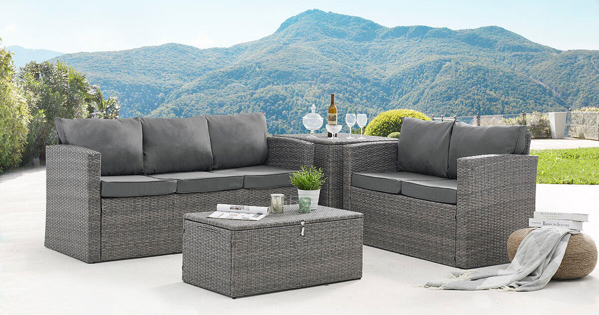 Garden Furniture - Rattan Garden Furniture Set Outdoor Sofa Conservatory Patio Set Storage Tables