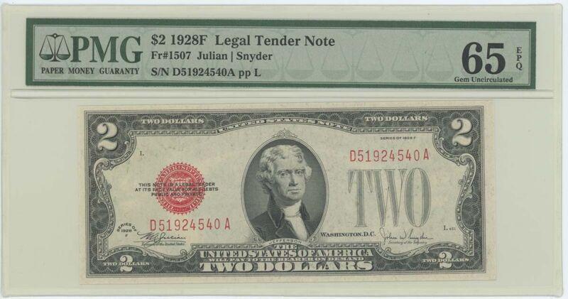1928F $2 Legal Tender FR#1507 PMG 65 EPQ Gem
