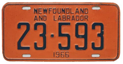 Colorful Vintage Newfoundland Canada 1966 License Plate, 23-593