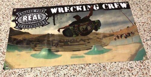 Real skateboards canvas vinyl banner wrecking crew poster skate park sign