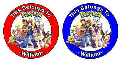 24 Personalized POKEMON Property Stickers for school books NAME TAGS LABELS #2 (School Name Tags)