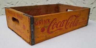 Coca Cola Crate Soda Pop Box Amarillo TX Wood Coke Yellow Temple MFG Dallas 1955
