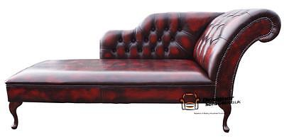 Chesterfield Leather Chaise Lounge Loungue Day Bed Antique Oxblood Left Or Right ()