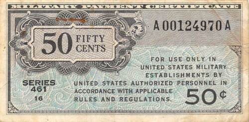 USA / MPC  50  Cents  ND. 1946  Series  461  Plate # 16  Circulated Banknote M6
