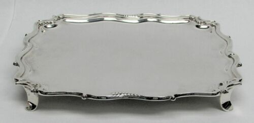 "1918 LONDON STERLING SILVER C & R C 9"" SQUARE FOOTED TRAY"