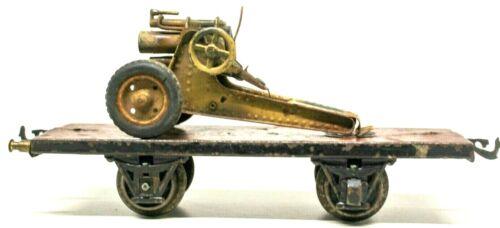 VINTAGE PRE-WAR MARKLIN 1-GAUGE FLAT CAR W/ BING COUPLERS & GESCHA 120MM MORTAR