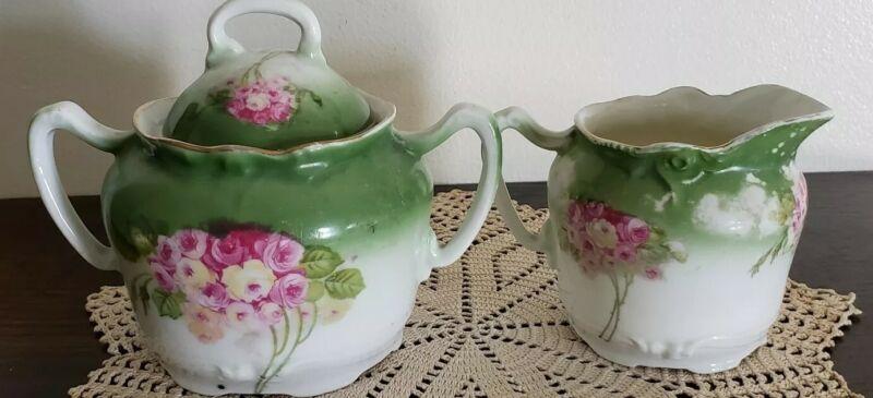 Vintage ~ Rose Bouquet Pattern with Gold Trim ~ Porcelain ~ Creamer & Sugar Set