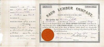 Saco Lumber Company > 1888s Maine Serial #2 old stock certificate share