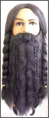 HOBBIT DWARF WIZARD LOTR Fantasy Mens Mixed Gray BRAIDED WIG MOUSTACHE and BEARD - Grey Moustache And Wig